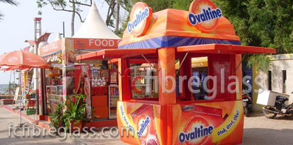 booth, kios fiberglass