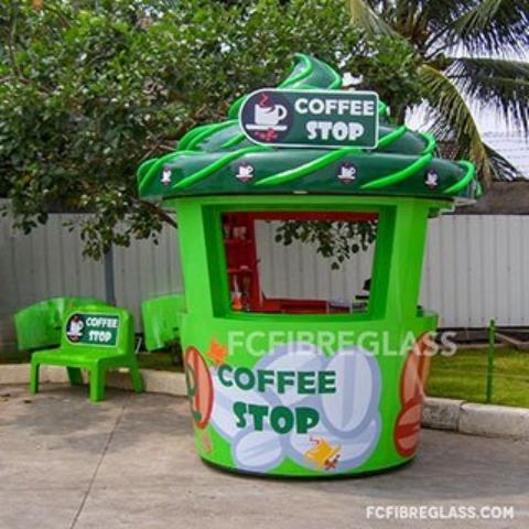 booth coffee stop bahan fiberglass