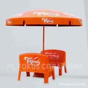 payung promosi dan bangku bahan fiberglass